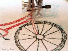 Sketchy Retro Bicycle Dishtowel -
