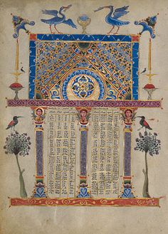 Canon Tables from the Zeyt'un Gospels         T'oros Roslin  Armenian, Hromklay, 1256  Tempera colors, gold paint, and ink on parchment  10 7/16 x 7 1/2 in.  MS. 59, FOL. 1V