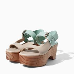 Very tempting... TWO-TONE LEATHER WEDGE from Zara #mint #nude