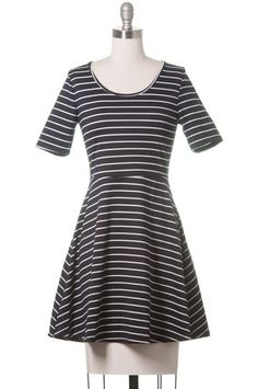 The Impossible Girl Skater Dress, Modcloth Style, Juniors, Navy, Stripped, Lace #ModClothStyle #SkaterDress #Casual