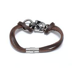 skull coffee leather bracelet 00703