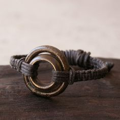 Macramé africaine bague Bracelet laiton Bronze par losttribedesigns