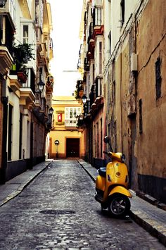 One of narrow streets of the beautiful Cádiz | Andalusia | Spain