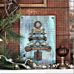 Reclaimed rusty hardware Christmas tree by Petticoat Junktion, featured on Funky Junk Interiors