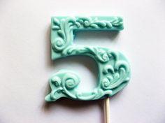 """3"""" fancy filigree number 5 hard candy lollipops As seen in Dylan Lauren's bridal shower featured in Martha Stewart weddings May 2011"""