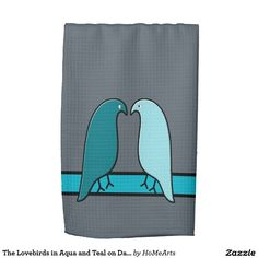 The Lovebirds in Aqua and Teal on Dark Gray Kitchen Towel