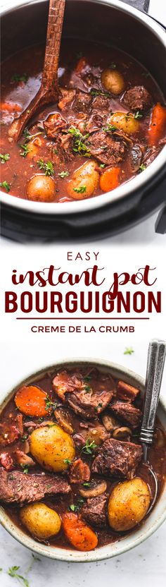Pull out your pressure cooker and whip up this quick and easy Instant Pot Beef Bourguignon and enjoy savory fall-apart tender beef chunks and veggies. If Ina Garten and Julia Child created a beef bourguignon together - this would be it! Beef Bourguignon, Instant Pot Pressure Cooker, Pressure Cooker Recipes, Pressure Cooking, Crockpot Recipes, Cooking Recipes, Potted Beef Recipe, Food Dishes, Beef Dishes