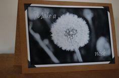 Black and white Fine art Wedding Summer Birthday Dandelion Blank Photo Card. $4.95, via Etsy.