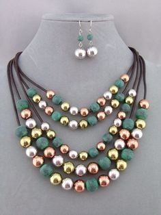 Layered Gold Copper Silver Green Bead Necklace Set Fashion Jewelry NEW…