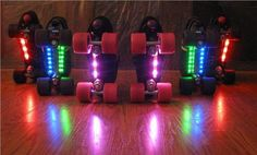 LIGHT UP YOUR SKATERS LIFE!!! Rollerbright LED Lights $49.95  Light up the rink with these all new RollerBrights LEDS. RollerBrights easily attach to the bottom of your skates (or anywhere you choose) and are powered by a 9V battery (not included).