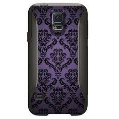 Custom OtterBox Commuter for Samsung Galaxy S5 Purple Black Damask Floral