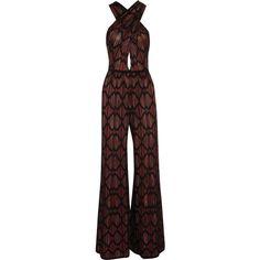 M Missoni Wide-leg cotton-blend crochet-knit jumpsuit ($660) ❤ liked on Polyvore featuring jumpsuits, rompers, dresses, playsuit, multi color jumpsuit, playsuit jumpsuit, knit romper, m missoni and romper jumpsuit
