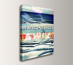 "Beach Art Wall Decor - Coastal Decor - Mixed Media Photo Collage Canvas Print - "" Boardwalk Blue"" on Etsy, $79.00"