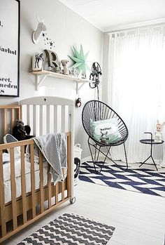 so sunny kids: Nordic style for nursery. Black, white and grey, natural wood and color accent mint