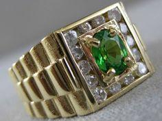 LARGE ESTATE DIAMOND TSAVORITE 14K YELLOW GOLD SQUARE STEP MENS RING 10M S1309.4 #Cluster