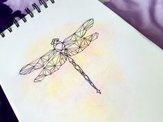First page of my sketchbook! This geometric dragonfly is made of black pen and coloured pencils #art #drawing #dragonfly #geometric #animals #ideas #inspiration