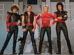 Queen, nobody is looking good in these get-ups. You have to be pretty 'talented' to make something not even Freddie Mercury can carry off. Queen Freddie Mercury, John Deacon, Queen Band, Brian May, I Am A Queen, Save The Queen, Queen Ii, Great Bands, Cool Bands