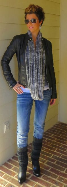 bomber jacket, gray outfit, leg warmers