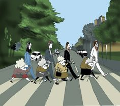 Foursome Twice crossing Abbey Road