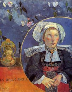 The Beautiful Angel (Madame Angele Satre, the Innkeeper at Pont-Aven), 1889 by Paul Gauguin, Breton period. Synthetism. portrait. Musée d'Orsay, Paris, France