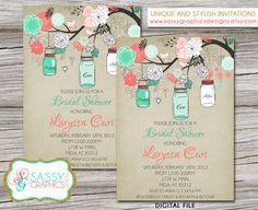 Bridal Shower Invitation with mason jars by SassyGraphicsDesigns
