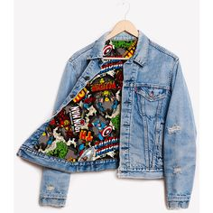 RWDZ x Marvel Iron Man x Levis Lined Jacket ❤ liked on Polyvore featuring outerwear, jackets, marvel, denim, blue denim jacket, blue jackets, lined jacket, levi jacket and lined denim jacket