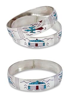 Unsigned Artisan Jewelry 166733: Vintage Navajo Silver Coral Turquoise Chip Inlay Peyote Bird Bangle Bracelet BUY IT NOW ONLY: $79.0