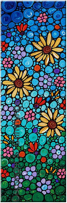 Floral Art Flowers Painting Blue Abstract Artwork Sunflowers Yellow Blue Red Mosaic - The Goddesses Of The Garden. $495.00, via Etsy.