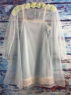 Van Raalte Blue Lace Nightgown Nylon Peignoir Set Vintage Lingerie Sz 36 Petite | Clothing, Shoes & Accessories, Women's Clothing, Intimates & Sleep | eBay!