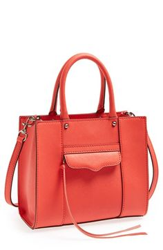 $195, Red Leather Tote Bag: Rebecca Minkoff Mab Mini Leather Tote Hot Red. Sold by Nordstrom. Click for more info: http://lookastic.com/women/shop_items/68211/redirect