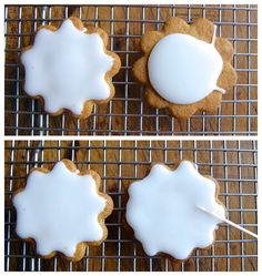 Simple cookie glaze - sift 2 1/4c icing sugar, mix with 2T light corn syrup and 1T milk. Stir until smooth. The glaze should be thick but pourable. When you run a spoon or spatula through it, it should hold its shape for a couple of seconds before flattening out.