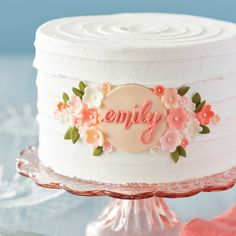 Wish a lucky lady a happy birthday or happy wedding shower with this Elegant Floral Birthday Cake. Customized with colorful florals and a personalized name plate, this buttercream cake is sure to be one that friends and family will remember for years to come.