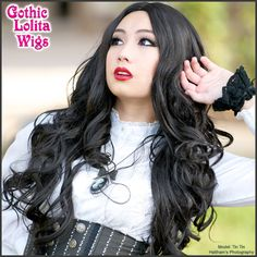 Gothic Lolita Wigs | Gyaru/Gal Wig - Black - Long Center Part | Model: Tin Tin | Haitham's Photography