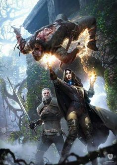 Party of 2 f Warlock Leather Armor cloak casting m Ranger Med Armor Sword battle wilderness deciduous forest hills The Witcher 3 Wild Hunt Cook & Becker in collaboration with CD Projekt Red The Witcher 3, Witcher 3 Art, The Witcher Wild Hunt, Fantasy World, Fantasy Art, Yennefer Cosplay, Yennefer Witcher, Witcher Wallpaper, Jeux Xbox One