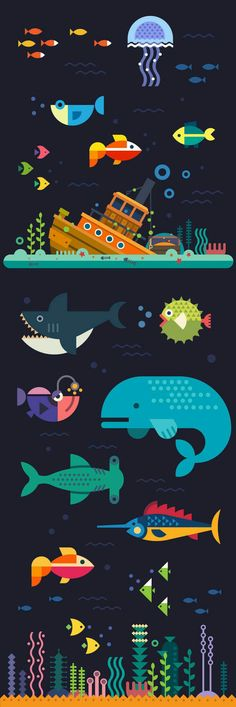 Sunken ship at the bottom of the sea and fish: whale, shark, sword fish and other. Sunken ship at the bottom of the sea and fish: whale, shark, sword fish and other. Illustration Plate, Graphic Illustration, Graphic Art, Shark Illustration, Fish Graphic, Flat Design Illustration, Illustration Styles, Flower Graphic, Posca Art