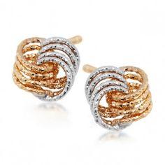 Kolczyki żółte i białe złoto - Biżuteria srebrna dla każdego tania w sklepie internetowym Silvea