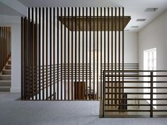 SxS: How to Create a Floor to Ceiling Vertical Stairwell Wall - Home Professional Decoration Loft Railing, Modern Stair Railing, Staircase Railings, Modern Stairs, Staircase Design, Wood Stairs, Cable Railing, Railing Ideas, Stairs Architecture