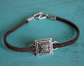Leather Stacking Cham Bracelet - Silver Square