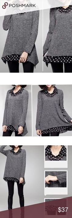 """Layered polka dot light sweater Material: polyester and rayon blended. NWOT Shoulder/bust/length  S: 15.5""""/ 39""""/25-30"""" M: 15.7""""/41""""/25.5-30.5 L: 16.1""""/43""""/25.8-31"""" XL: 16.5""""/45""""/26-31.5 Sweaters"""
