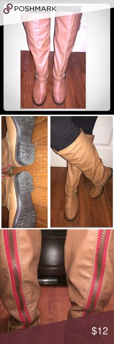 Tan Riding boots Tan flat riding boots with red stripe on the back. These are trendy & cute! The back zipper is a little hard to get up but does go up all the way I have the same issue with other JustFab boots but in general JustFab boots are made well some have lasted me over 4 years & I'm still wearing them. These have only been worn a few times & just normal wear on the bottoms and the sole hardly recognized almost look brand new. I love these but I'm trying to make room in my closet for…