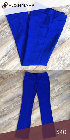 Express Columnist blue dress pants Wearable to work and also amazing for an after work party. Very slim fit that flares to a boot cut. Thin, sleek fabric which is comfortable year round. Size 4 LONG. Also selling the exact same pants in red. Bundle for discount. ❤️ OFFERS! Express Pants Boot Cut & Flare