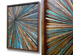 """Original Reclaimed Wood Art by Alley Cat Design Studio  Catherine and Alan Moore  """"Watershed Reclaimed Vintage Wood Starburst Artwork 2015  Rustic - Modern – Contemporary Wood Abstract Wall Art  Reclaimed 1890s Rough Sawn Pine, 1920s Oak and Walnut Ceilings, Flooring & Window Casings & Cedar  22.5 x 32.5 x 1.75  Made to Order Only.  ~ """"Watershed Reclaimed Wood Starburst Artwork ~  Beachy. Relaxed. Vintage.  Solidly constructed from an eclectic mix of beautiful 1890s reclaimed rough sa..."""