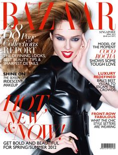 Coco Pops – Coco Rocha shows off some of her trademark moves for the April cover shoot of Harper's Bazaar Singapore. In front of Simon Upton's lens, Coco dons color blocked ensembles from the likes of Celine, Atsuko Kudo and Zana Bayne with fetish accents styled by Kenneth Goh. On beauty are hair stylist Ted Gibson and makeup artist Fredrik Stambro with sleek up-dos and red lips.
