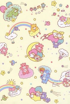 Thank you for this GIANT image! Little Twin Stars & Care Bears - Sanrio style file folder (I'm assuming) Sanrio Wallpaper, Bear Wallpaper, Kawaii Wallpaper, Pattern Wallpaper, Care Bears, Cute Backgrounds, Cute Wallpapers, Wallpaper Backgrounds, Sanrio Characters