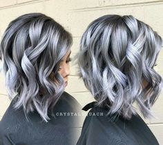 Edgy and intimidating, the silver hair trend has all the cool girl vibes. Here, 17 gray and silver hair inspiration photos that will have you running to your colorist immediately. Silver Grey Hair, Gray Purple Hair, Grey Hair Colors, Silver Platinum Hair, Metallic Hair Color, Short Silver Hair, Silver Ombre, Hair Color Gray Silver, Gray Hair Color Ombre