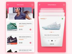 interface designed by dlll. Connect with them on Dribbble; the global community for designers and creative professionals. Mobile Design, Mobile Ui, Interface Design, Nike Zoom, Training Shoes, Ecommerce, Nike Air Max, Apps, Men
