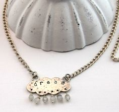 Textured cloud sterling silver necklace by DesignsbyCaz on Etsy