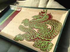 Dragon Korean Hanji Paper Tray VidePoche Rectangular by HanjiNaty, $55.00