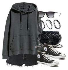 """Sin título #12410"" by vany-alvarado ❤ liked on Polyvore featuring RE/DONE, H&M, Chanel, Converse, Ray-Ban and DesignSix"