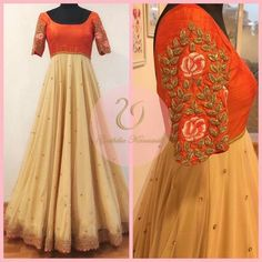 Unit Third floor(above bata showroom) Apurupa LNG opposite Film Nagar club near cafe coffee day road Jubilee 09 January 2017 Long Gown Dress, Saree Dress, Long Frock, Kurta Designs, Saree Blouse Designs, Indian Attire, Indian Outfits, Mode Bollywood, Long Dress Design